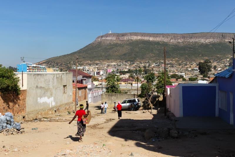 Sikt av Lubango, Angola royaltyfri bild