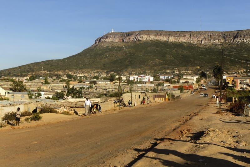 Sikt av Lubango, Angola royaltyfria foton