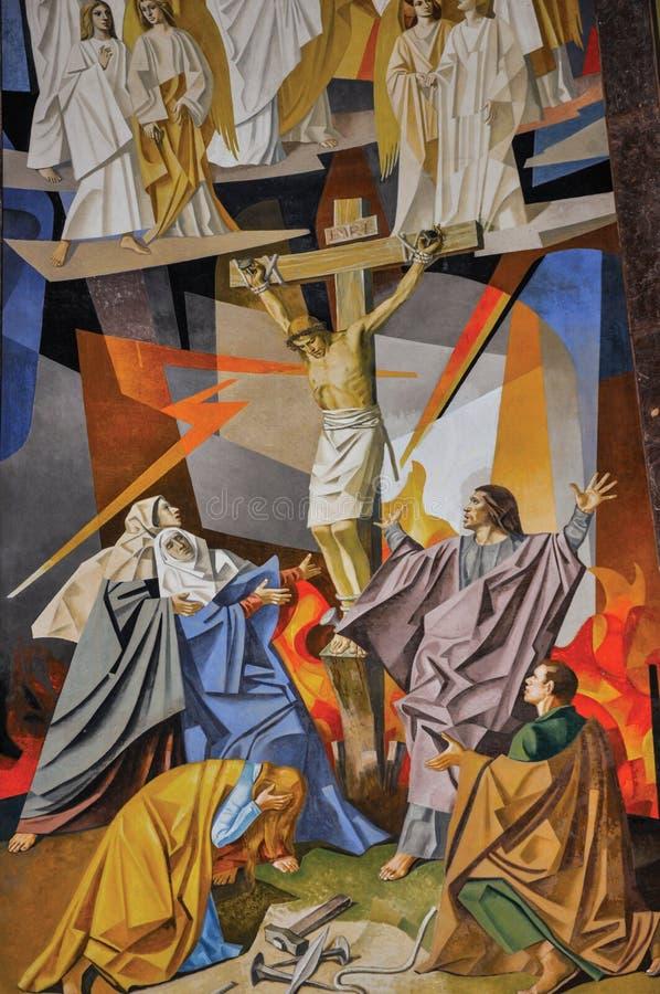 Sikt av målning på väggar med bilder av utdraget från bibeln i den Santuà ¡ rio das Almas kyrkan i Niteroi royaltyfria bilder