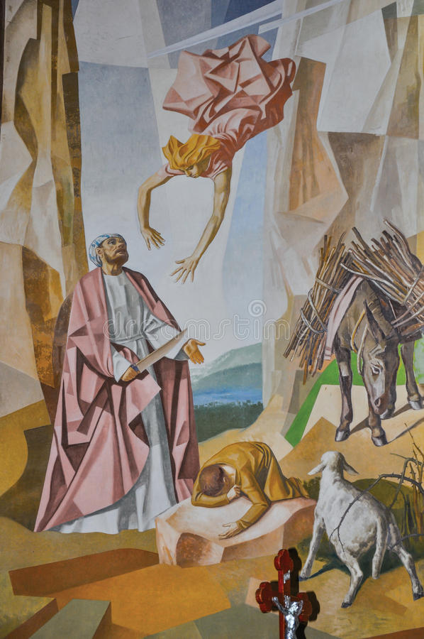 Sikt av målning på väggar med bilder av utdraget från bibeln i den Santuà ¡ rio das Almas kyrkan i Niteroi royaltyfri fotografi
