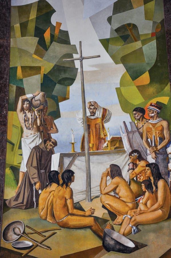 Sikt av målningar på väggar med religiösa bilder i den Santuà ¡ rio das Almas kyrkan i Niteroi royaltyfri foto