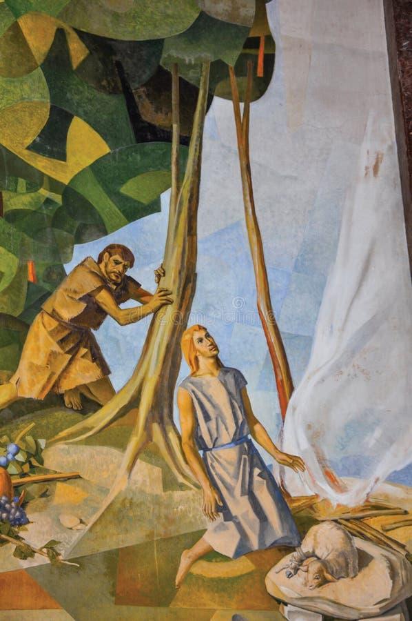 Sikt av målningar på väggar med religiösa bilder i den Santuà ¡ rio das Almas kyrkan i Niteroi arkivfoto