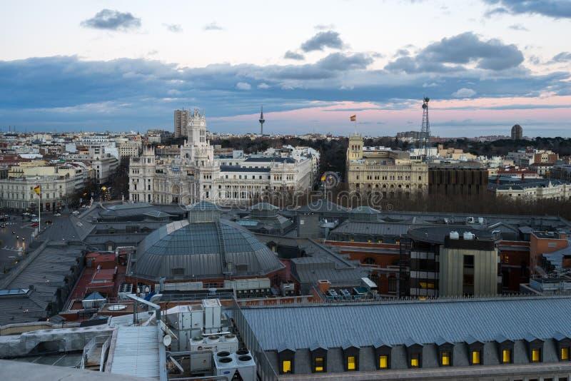Sikt av Madrid från circulo de bellas artes arkivfoton