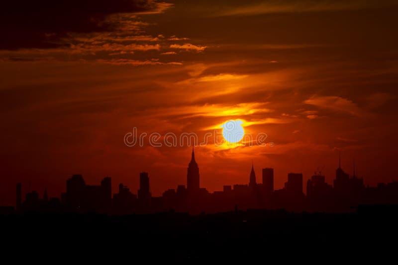 Sikt av Manhattan New York City från Empire State Building arkivbild