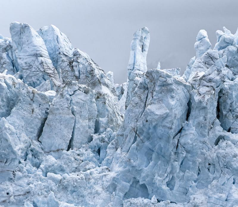 Sikt av Margerie Glacier p? nationalparken f?r glaci?rfj?rd arkivfoton