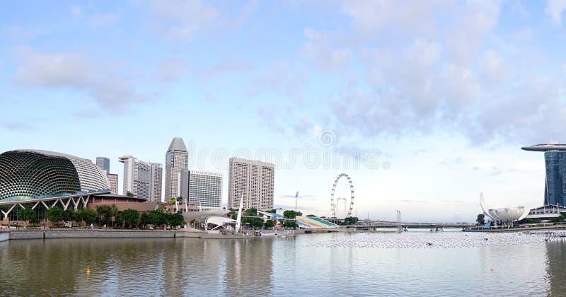Sikt av Marina Bay i Singapore arkivbilder
