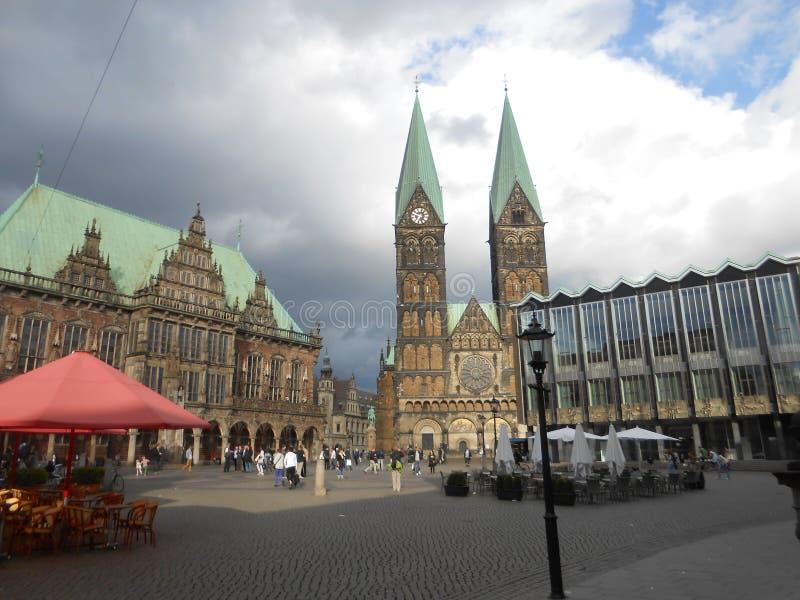 Sikt av Market Place i Bremen, Tyskland royaltyfri foto
