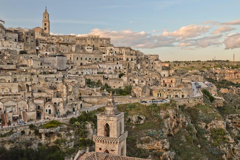 Sikt av Matera, en stad i sydliga Italien arkivfoto