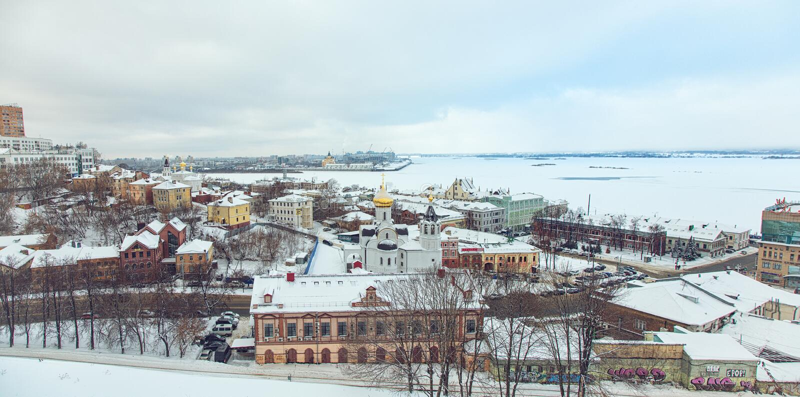 Sikt av mitten Nizhny Novgorod från Kreml fotografering för bildbyråer