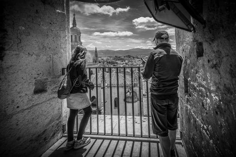 Sikt av mitten av Segovia, Spanien royaltyfri bild