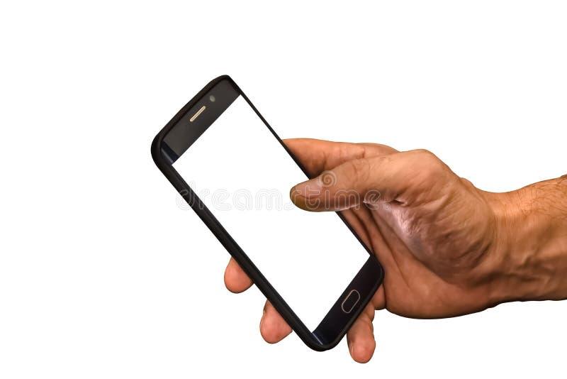 Sikt av mobiltelefonen med den vita skärmen som är customizable, i hand för hög man också på vit bakgrund fotografering för bildbyråer
