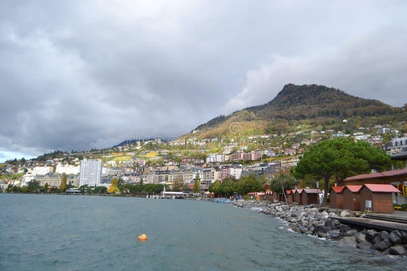 Sikt av Montreux, Schweiz arkivfoto