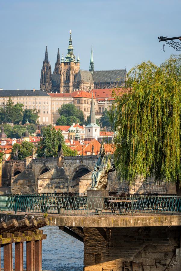 Sikt av monumentet till kompositören Smetana i Prague royaltyfri foto