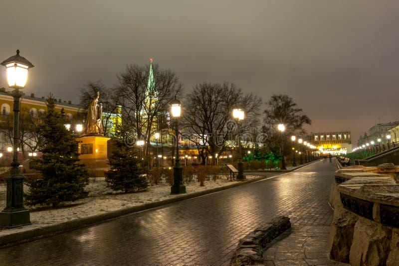 Sikt av Moskva, MoskvaKreml och den Alexander trädgården, royaltyfri bild