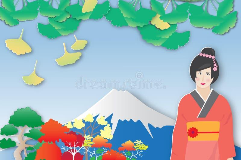 Sikt av Mount Fuji och det färgrika trädet med den japanska flickan stock illustrationer