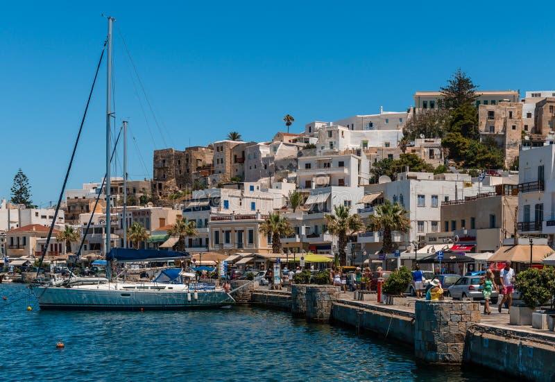 Sikt av Naxos, Grekland royaltyfri bild
