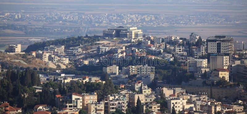 Sikt av Nazareth och den Jezreel dalen, Israel arkivfoton