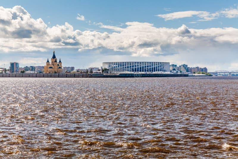 Sikt av Nizhny Novgorod stadion royaltyfria foton