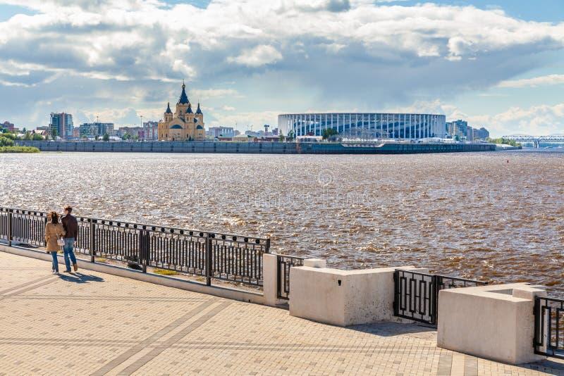 Sikt av Nizhny Novgorod stadion royaltyfri foto