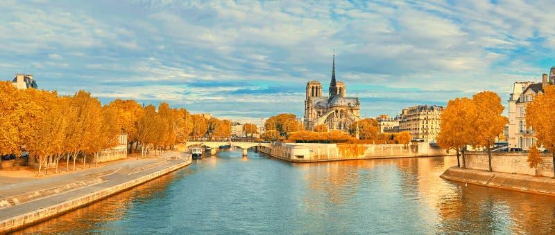 Sikt av Notre Dame de Paris och Seine River i höst royaltyfri fotografi