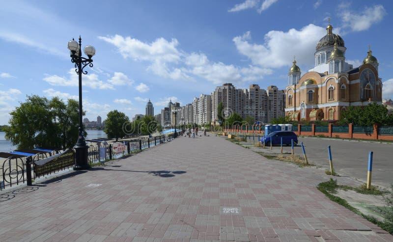 Sikt av Obolonskaya promenad, Kiev, Ukraina arkivbild