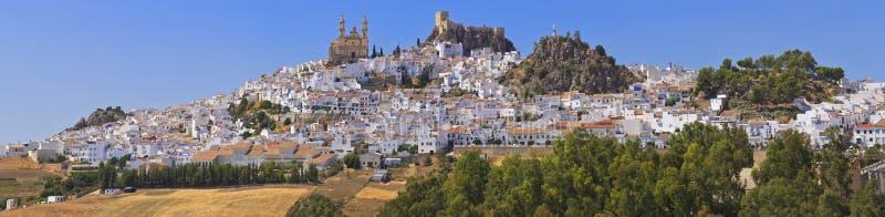 Sikt av Olvera, en av de vita byarna av landskapet av Cadiz, Andalusia, Spanien arkivbild