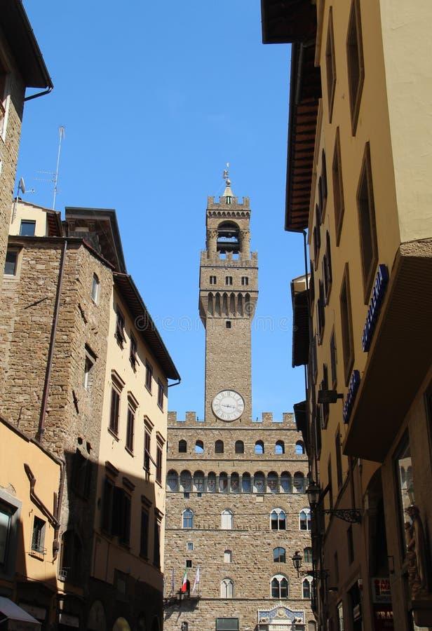 Sikt av Palazzoen Vecchio i Florence arkivbilder