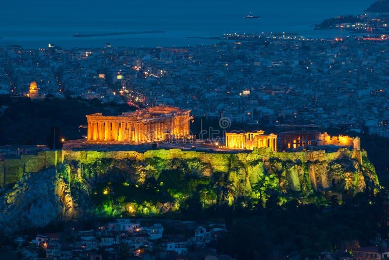 Sikt av parthenonen på akropolen i Aten, Grekland arkivbild
