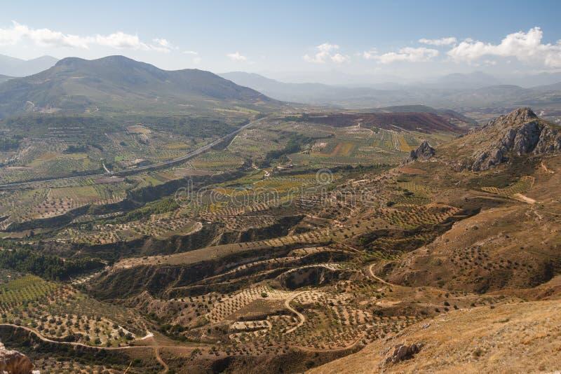 Sikt av Peloponnese kullar arkivbild