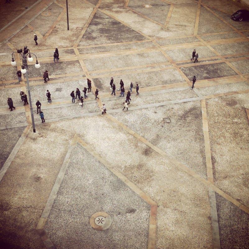 Sikt av piazzaduomoen i Milan royaltyfria foton