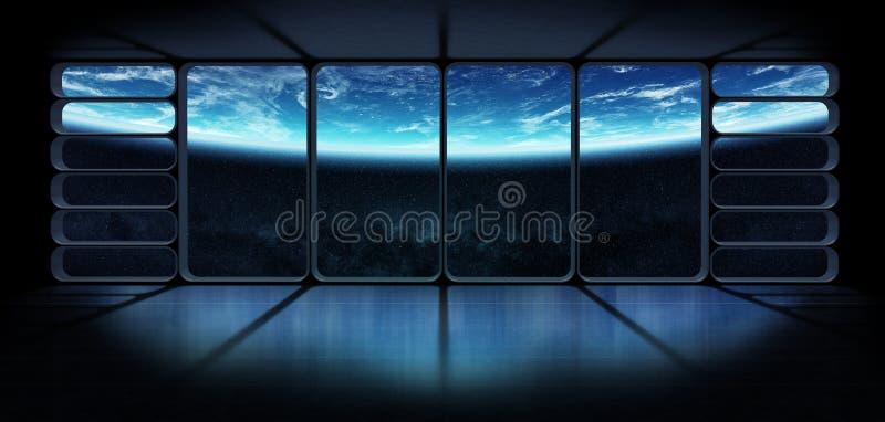 Sikt av planetjorden från en enorm renderi för rymdskeppfönster 3D royaltyfri illustrationer