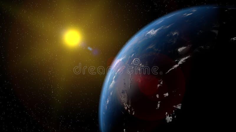 Sikt av planetjorden från utrymme under beståndsdelar för en tolkning för soluppgång 3D av denna bild som möbleras av NASA stock illustrationer