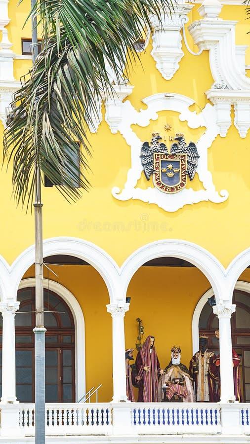 Sikt av plazaen de armas, Lima huvudsaklig fyrkant, Peru arkivfoto