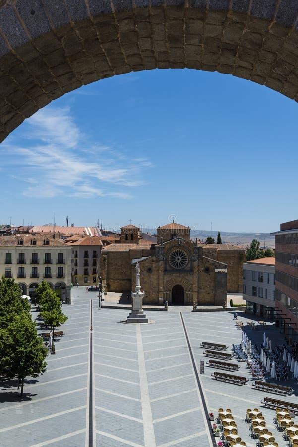 Sikt av plazaen Santa Teresa, Avila, Castilla y Leon, Spanien arkivfoto