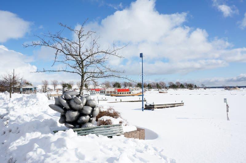 Sikt av port i vinter royaltyfri fotografi