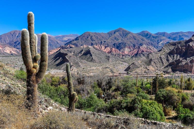 Sikt av Quebradaen de la Humahuaca, Argentina arkivfoton