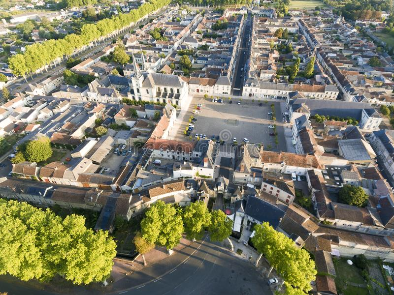 Sikt av Richelieu, Indre-et-Loire royaltyfri fotografi