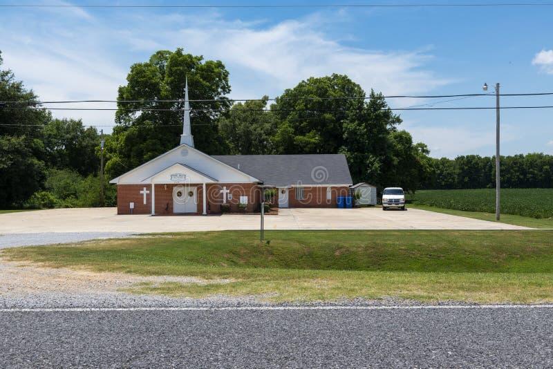 Sikt av Rose Hill Baptist Church nära Mayersville, Mississippi arkivfoton