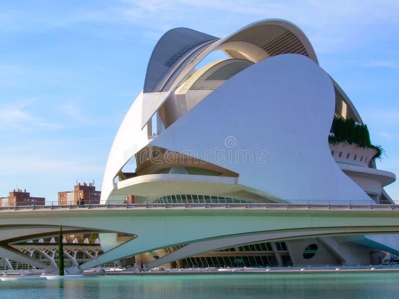 Sikt av salongen i staden av konster och vetenskaper av valencia arkivbilder