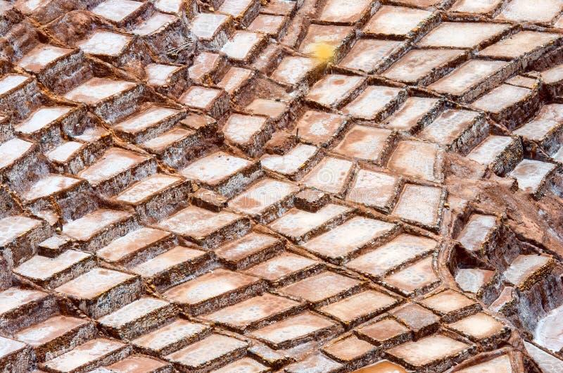 Sikt av Salt damm, Cuzco, Peru arkivfoton