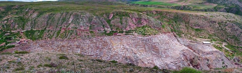 Sikt av Salt damm, Cuzco, Peru royaltyfria bilder