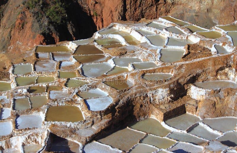 Sikt av Salt damm, Maras, Cuzco royaltyfria bilder