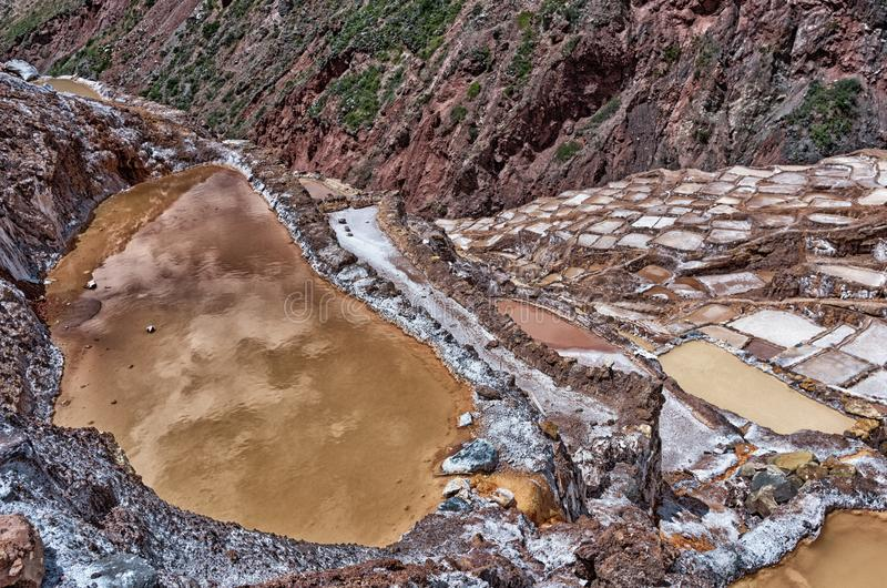 Sikt av Salt damm, Maras, Cuzco, Peru arkivbilder