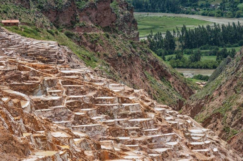 Sikt av Salt damm, Maras, Cuzco, Peru royaltyfria foton
