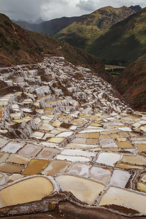 Sikt av Salt damm, Maras, Peru, Sydamerika med Anderna och molnig himmel royaltyfria foton