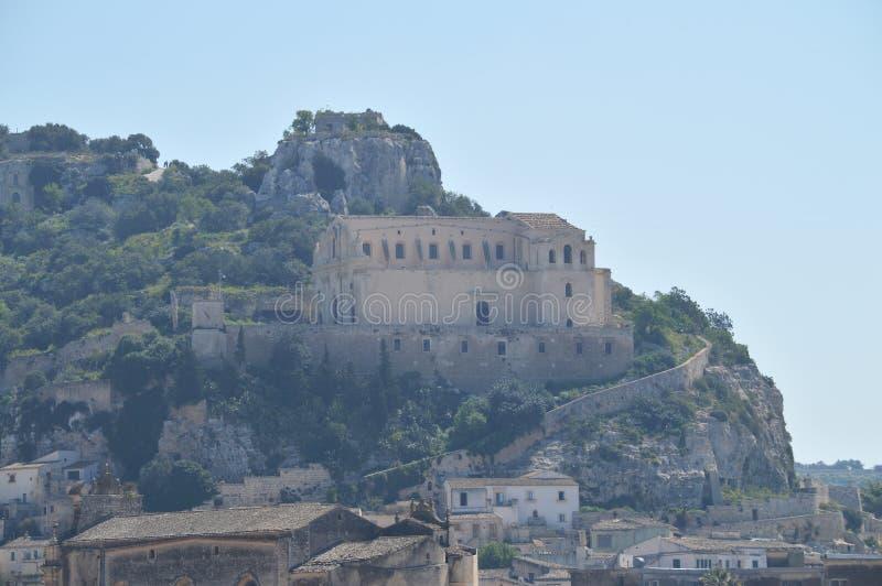 Sikt av San Matteo Church, Scicli, Ragusa, Sicilien, Italien, Europa, världsarv arkivbilder