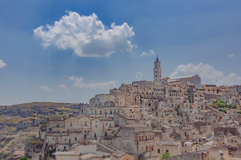 Sikt av Sassien av Matera, Italien royaltyfri bild