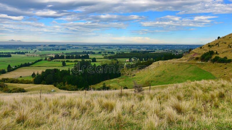 Sikt av sceniska Canterbury slättar från lädalen i Nya Zeeland arkivbilder