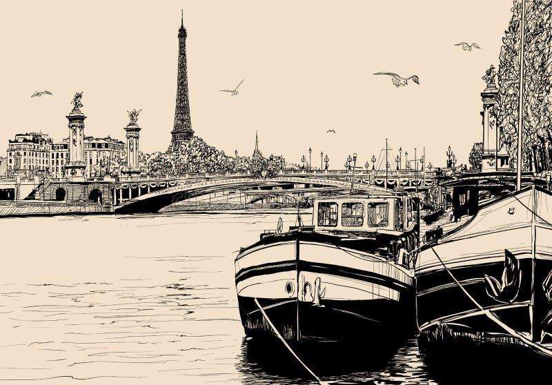Sikt av Seine River i Paris med pråm och Eiffeltorn royaltyfri illustrationer
