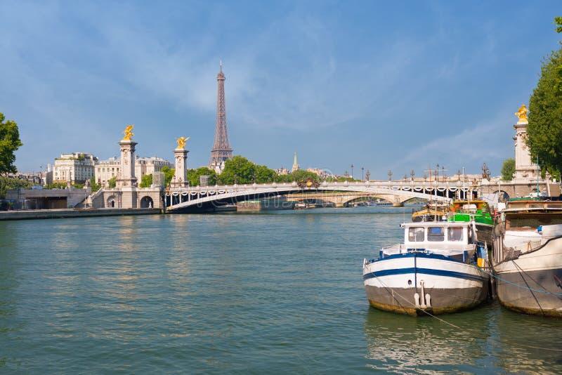 Sikt av Sena i Paris royaltyfria bilder